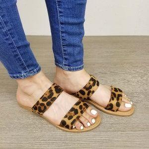 Leopard Print Double Strap Flat Summer Sandals - F